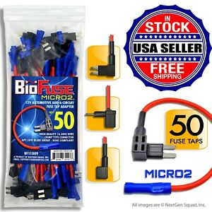 BioFuse-50-PACK-Micro2-APT-ATR-16-AWG-Add-Circuit-Fuse-Tap-Holders-Lot