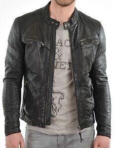 New-100-Leather-Jacket-Coat-Men-Slim-Men-039-s-Outwear-Black-Biker-Moto-Jacket
