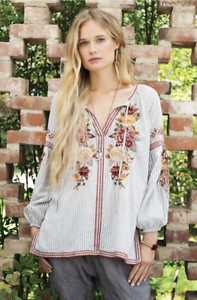 JOHNNY-WAS-Embroidered-ARTEMIS-Floral-PEASANT-BLOUSE-Workshop-Stripe-XS-245