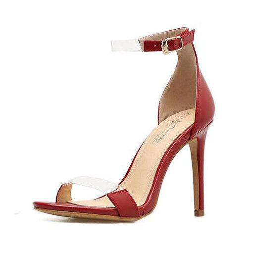Sandali stiletto eleganti tacco 12 cm rouge stiletto pelle sintetica 1161