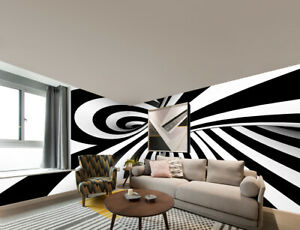 3D-Black-and-White-Swirl-Self-adhesive-Living-Room-Wallpaper-Wall-Mural-Decor