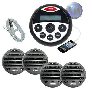 Marine-Boat-Audio-Stereo-Kit-MP3-USB-FM-AUX-Ipod-Radio-4-Speakers-Antenna
