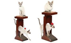 Details About Wood Cat Adjustable Cat Tower Perch W Scratching Pad Wooden Cat Scratcher