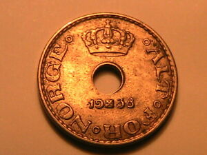 1938 Norway 10 Ore Nice BU Lustrous Ten Ore Norwegian Norge Scandinavian Coin