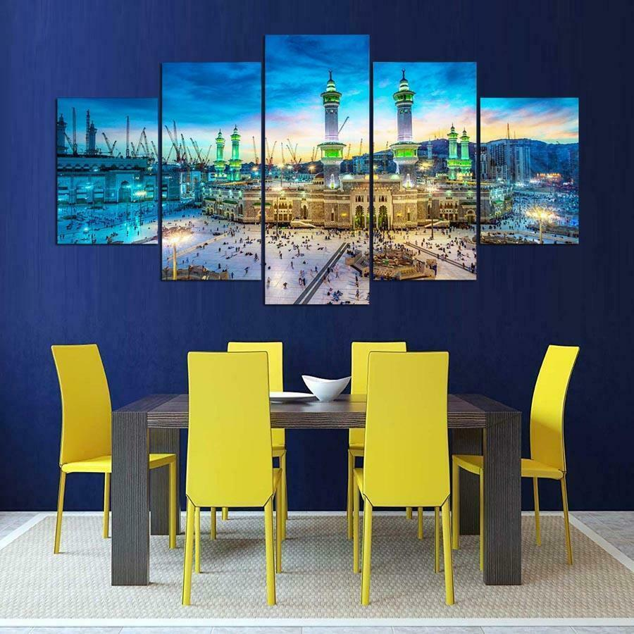 The Mecca Mosque 5 panel canvas Wall Art Home Decor Poster Print