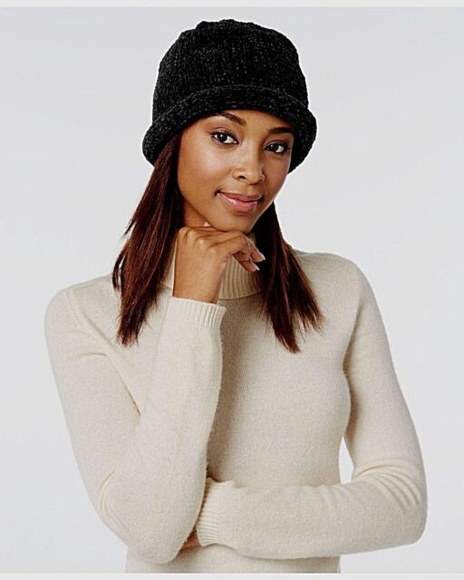 August Hat Company Women/'s Black Knitted Bucket Hat Cap One Size NWT