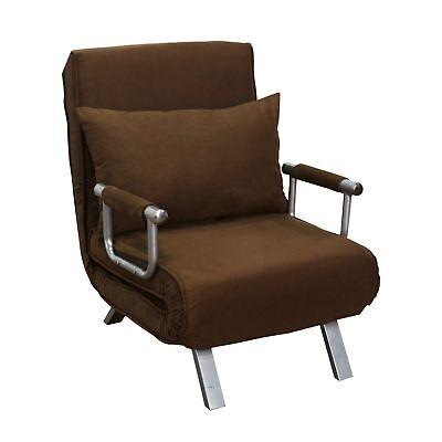 Convertible Single Sleeper Sofa Bed Recliner Lounger W/ Pillow Folding Brown