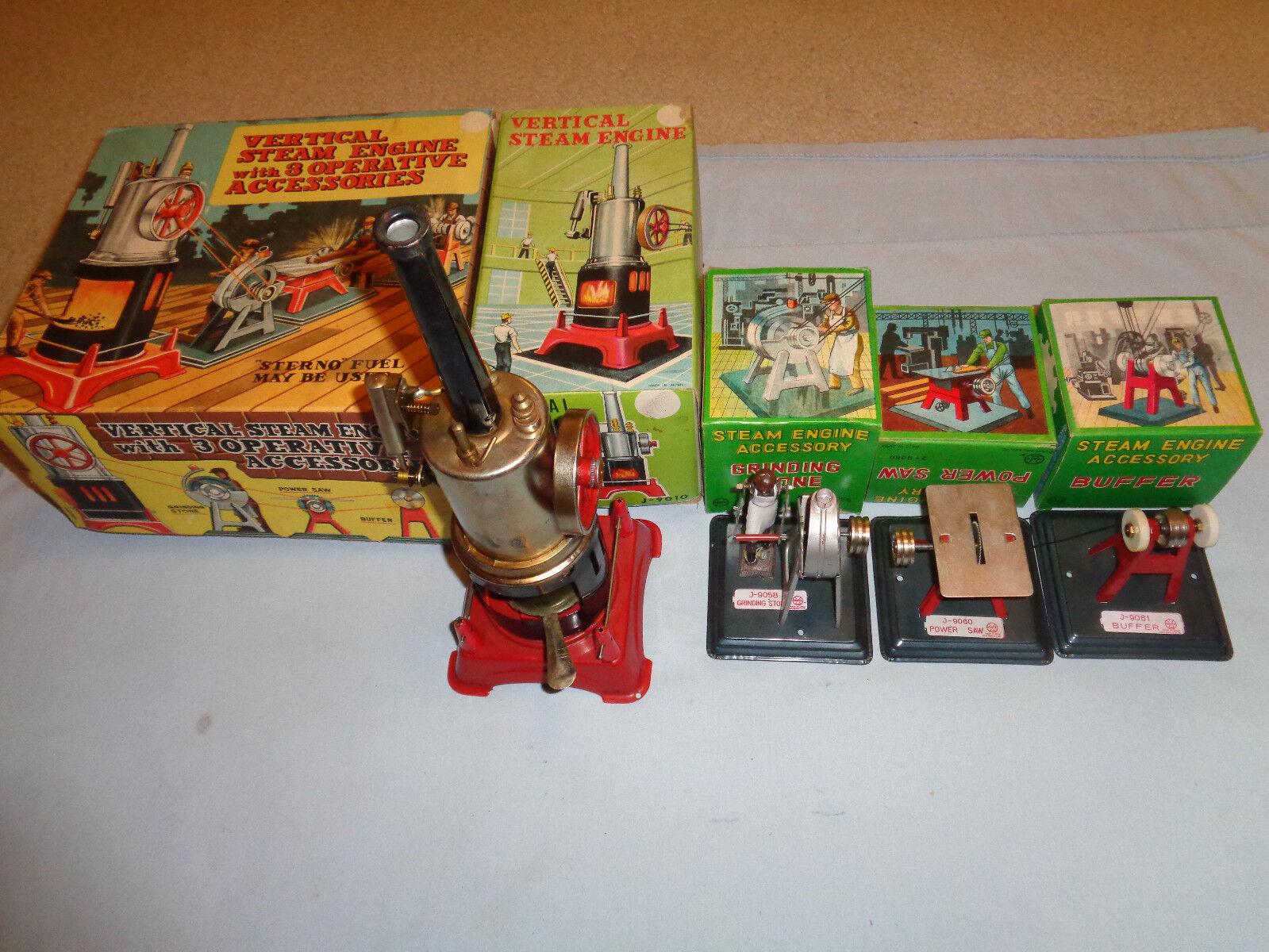 Marx  J-5322 Vertical Steam Engine w/3 Operative Accessories w/Original Box's
