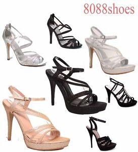 Women-039-s-Bridal-Glitter-Strappy-Open-Toe-Dress-High-Heel-Platform-Shoes-5-10