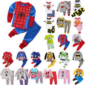 Kids-Boys-Girls-Cartoon-Sleepwear-Outfit-Baby-Toddler-Nightwear-Pj-039-s-Pyjamas-Set