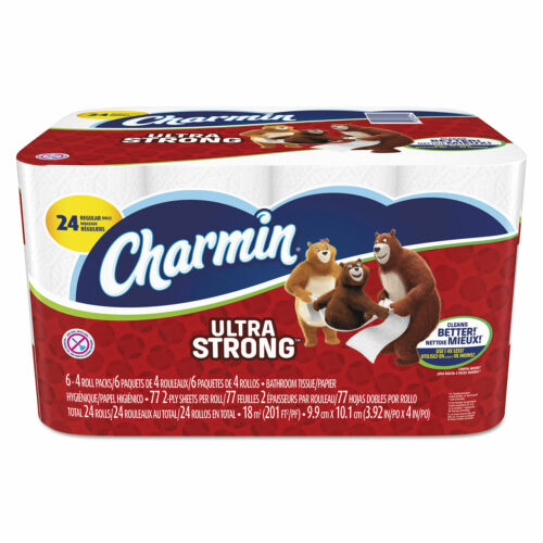 Charmin Ultra Strong Bathroom Tissue 2-Ply 4 x 3.92 77//Roll 24 Roll//Pack 94142CT