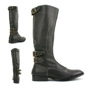 WOMENS-LADIES-REAL-LEATHER-CALF-BIKER-COWBOY-RIDING-STYLE-SHOES-BOOTS-KNEE-SIZE