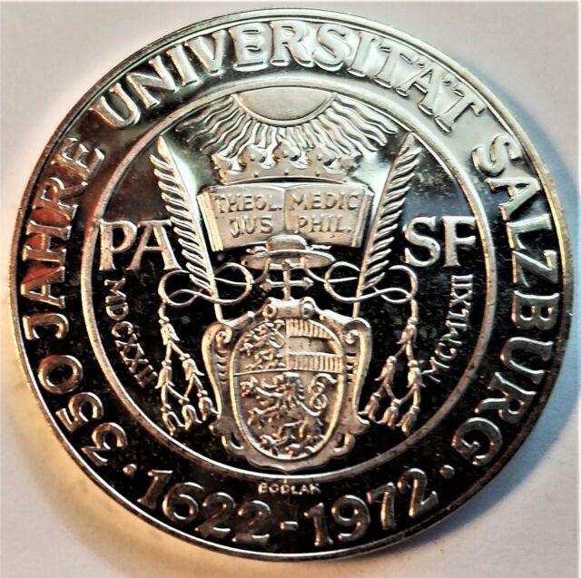 1972 Austria 50 schilling proof silver coin-350th anniversary Univ Salzburg