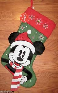 DISNEY MICKEY MOUSE GREEN~RED CORDUROY CUFF CHRISTMAS STOCKING~RHINE<wbr/>STONES~NWT