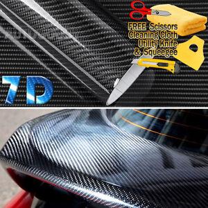 "36"" x 60"" Super Gloss 7D Black Carbon Fiber Vinyl Air Bubble Free 3ft x 5ft 6D"