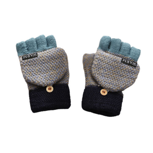 1Pair Block Winter Warm Thickening Faux Wool Half Finger Flip Gloves Comfortable