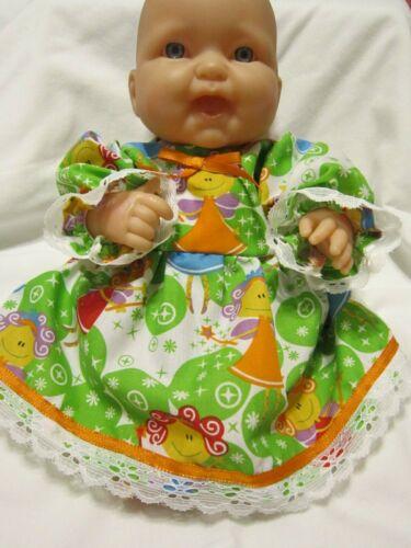 """cabe 12-14/"""" H//b E S//b Berenguer Bebês Vestido de impressão Fadas Verde//Bloomers"""
