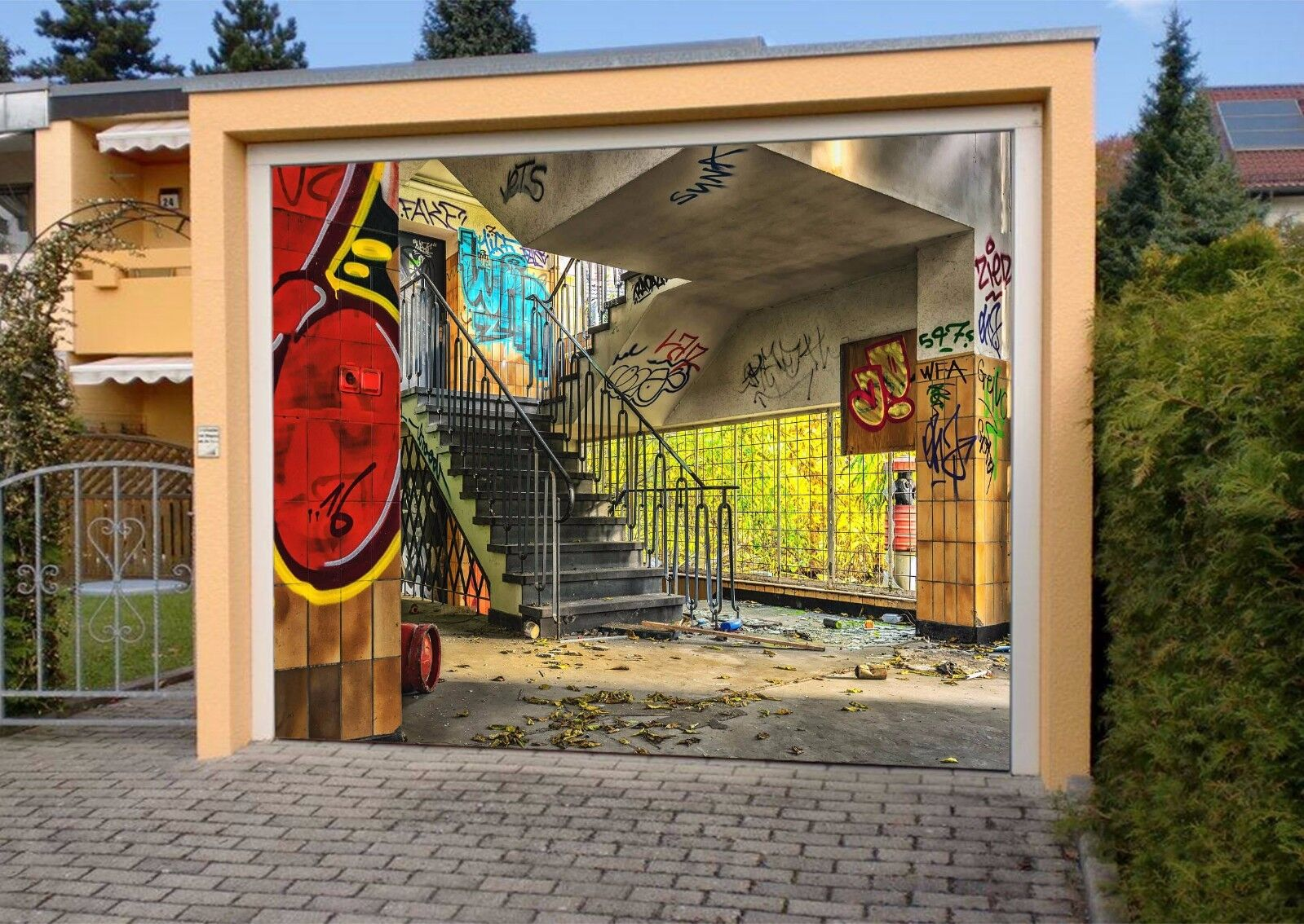 3D Graffiti Stairs 422 Garage Door Murals Wall Print Wall AJ WALLPAPER UK Lemon
