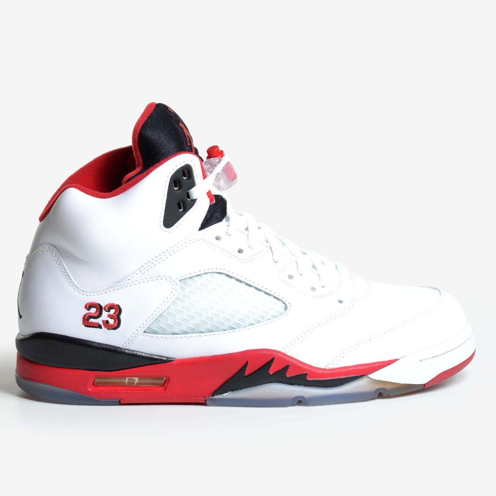 Air Jordan 5 Retro White 2013 Fire Red Black V Men's Basketball 136027-120