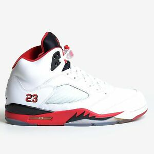 low priced 09ae8 6df91 Image is loading Air-Jordan-5-Retro-White-2013-Fire-Red-
