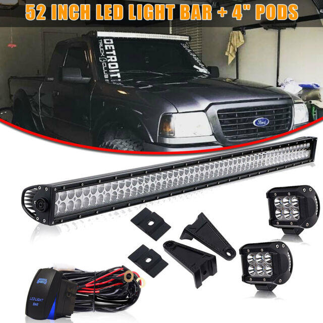 """52"""" 300W LED WORK LIGHT BAR SPOT FLOOD 4WD SUV OFFROAD FOR JEEP 50"""" + 4"""" Pods"""