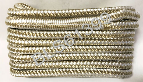 """White Gold Boat Dock Lines 1//2/"""" Double Braid Marine Rope 2 Each 15/' /& 25/' ft 4"""