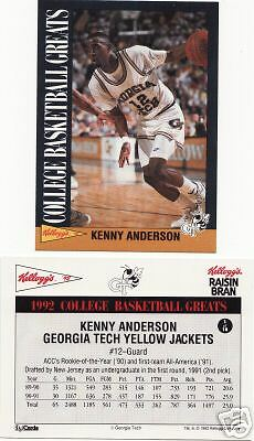 1992 KELLOGG/'S COLLEGE GREATS KENNY ANDERSON CARD ~ GT