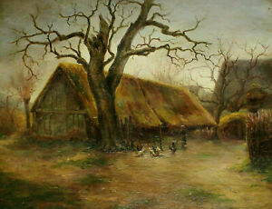 Signed-Dated-NOURY-1919-Farm-with-farmer-and-Spring-Cattle