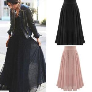 Double-Layer-Hot-Women-Pleated-Elastic-Maxi-Waist-Dress-Retro-Long-Chiffon-Skirt