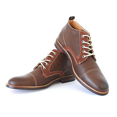 New Men's Brown Ferro Aldo Ankle Boots Cap Toe Suede Leather Lace Up NEW 506013