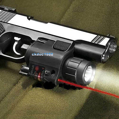 Tactical Combo Cree Flashlight/Lights Torch Red Laser Sight Fit Pistol/Glock #05