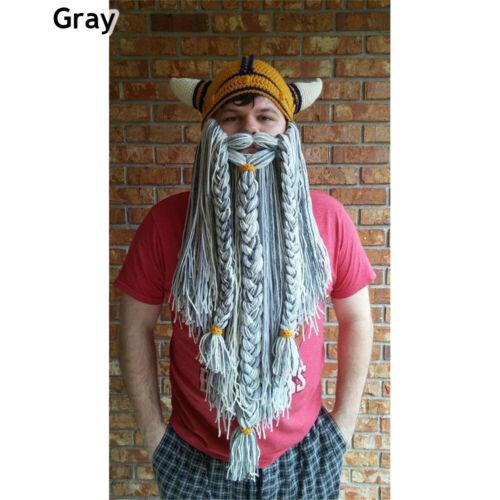 Vagabond Handmade Knitted Crazy Ski Cap Beanie Long Beard Viking Horn Hat