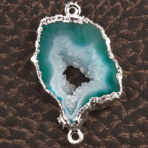 Natural Geode Slice Drusy Silver Plated DIY Charms Necklace Bracelets Connectors
