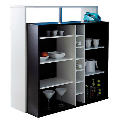 Mueble bar armario con botellero color blanco y negro reposapies 110x48x113 cm
