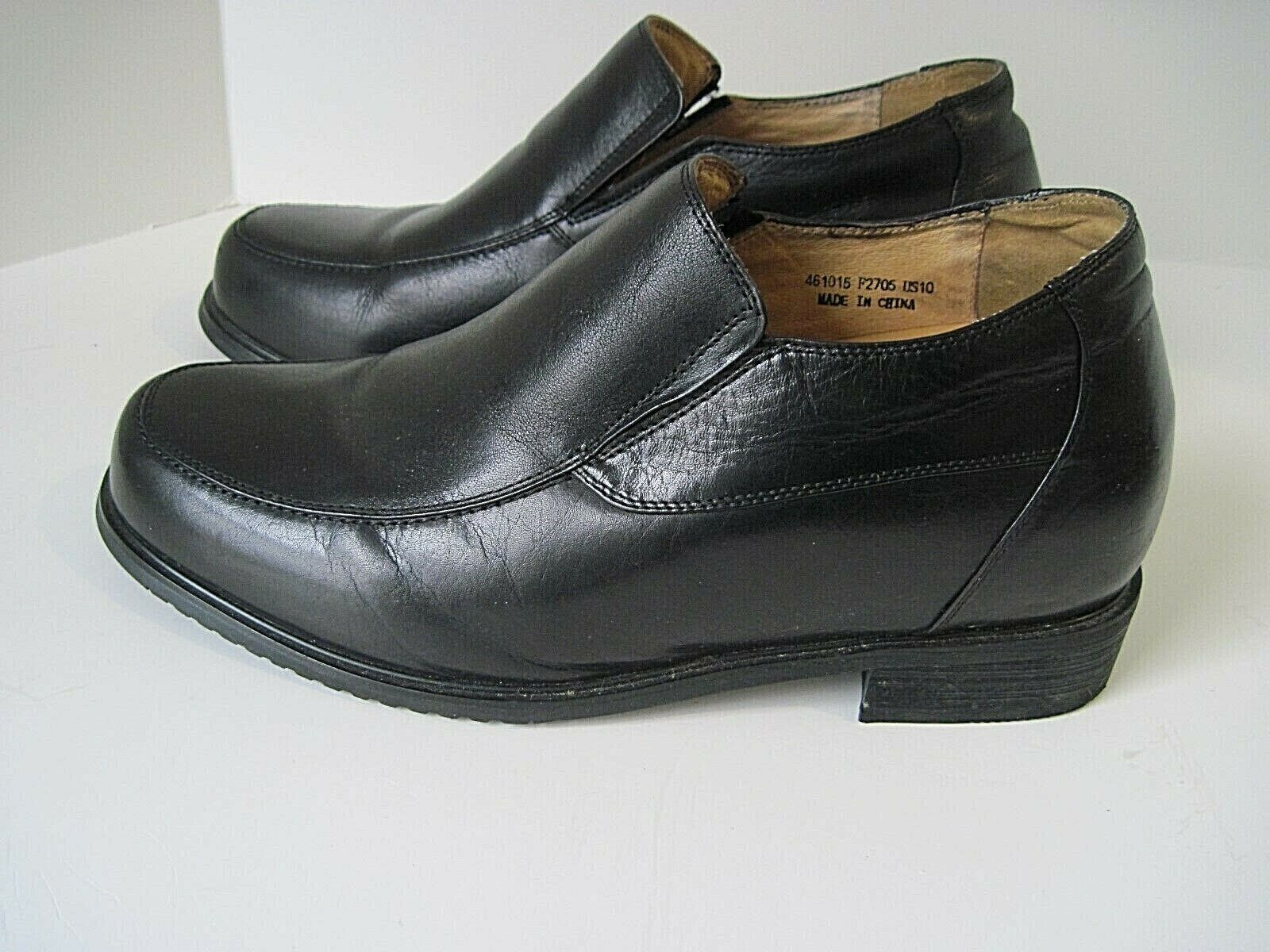 TOTO - 2.2 Inches Elevator Height Increase Black Leather Slip On shoes Size 10