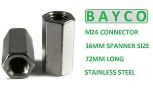 M24 (24MM) A2  ALL THREADED BAR CONNECTOR DEEP NUT 72MM LONG. STAINLESS STEEL.