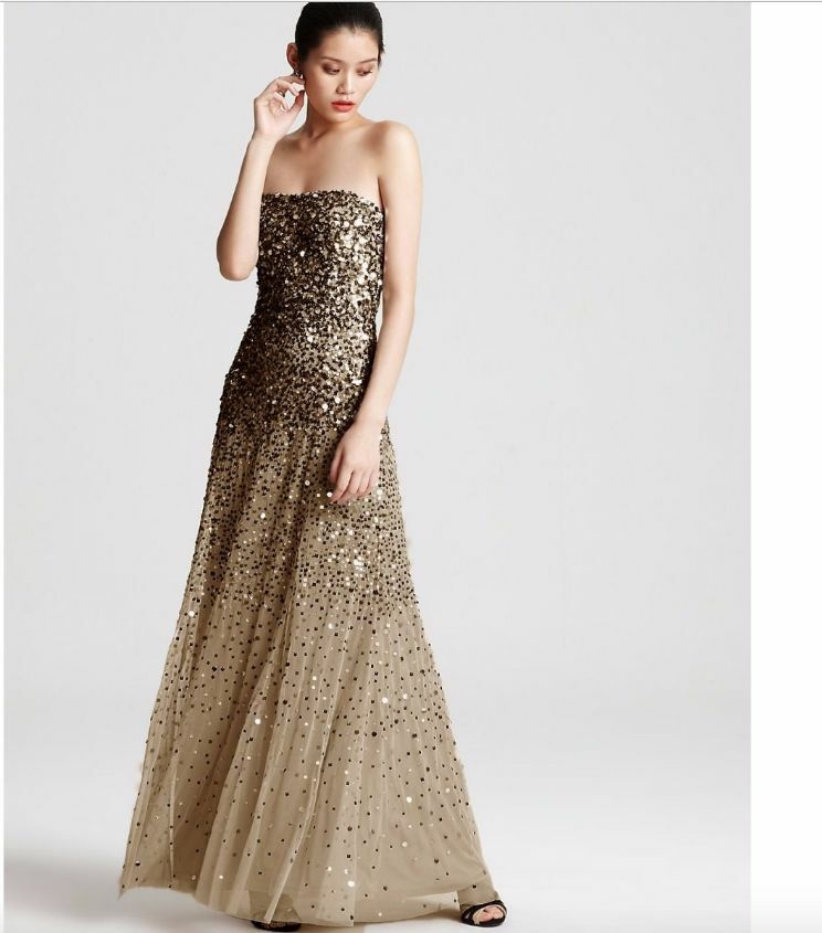Adrianna Papell Sequined Strapless Mesh Gown Sz 6P gold Champagne Jovani Formal
