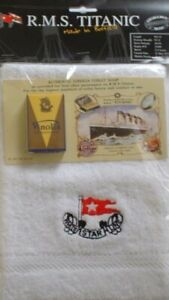 White-Star-Line-RMS-Titanic-Embroidered-Face-Cloth-Authentic-Soap-New