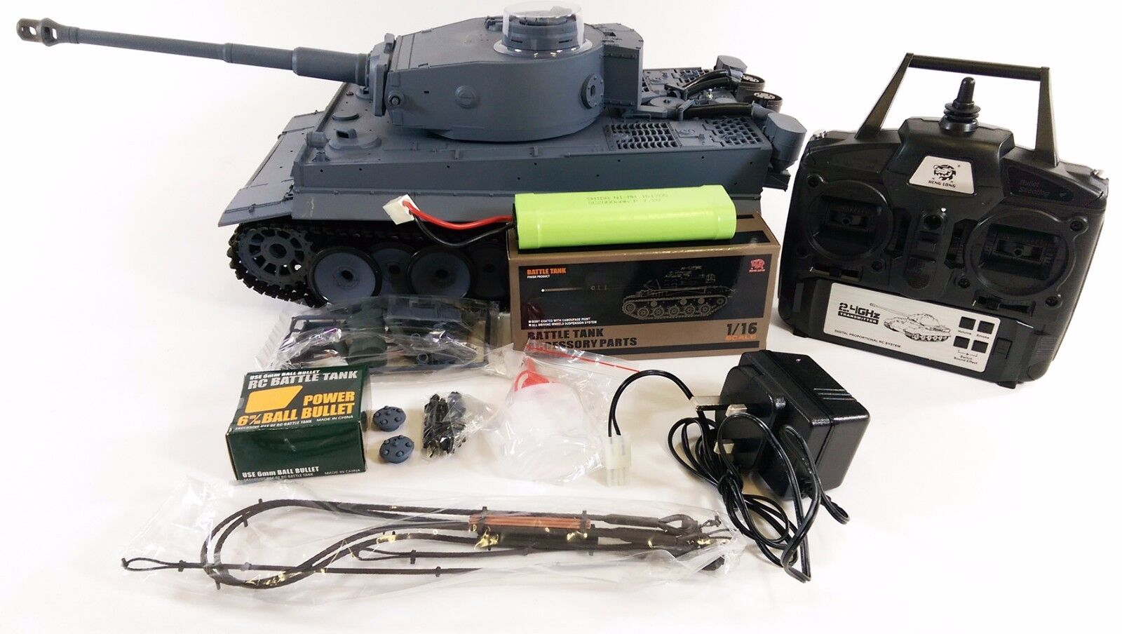 Actualizado Dual Sound HENG largo radio control humo y sonido GERMAN TIGER Tanque