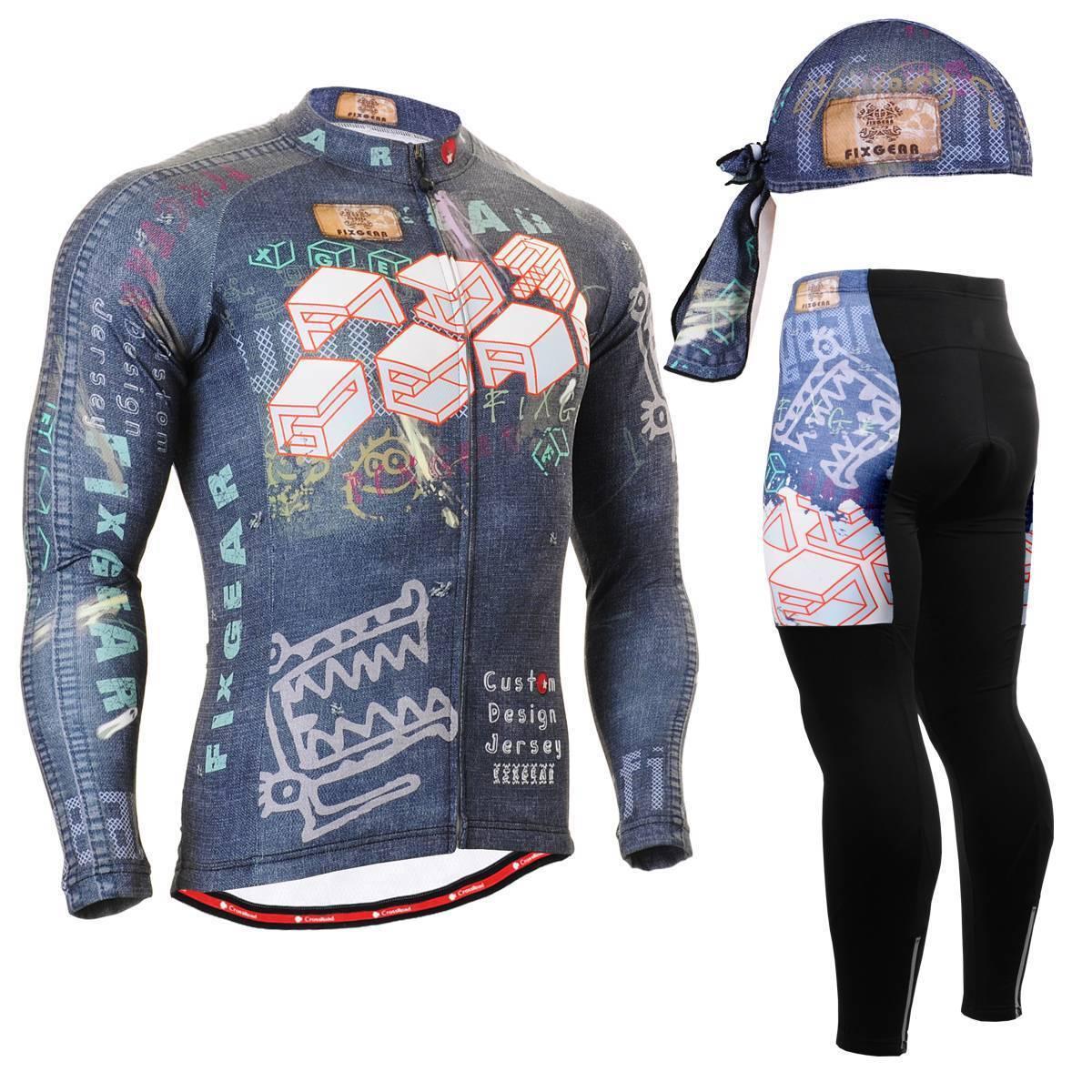 FIXGEAR CS-1501 SET Cycling Jersey & Padded Pants,MTB Bike,BMX,Beanie Free GIFT