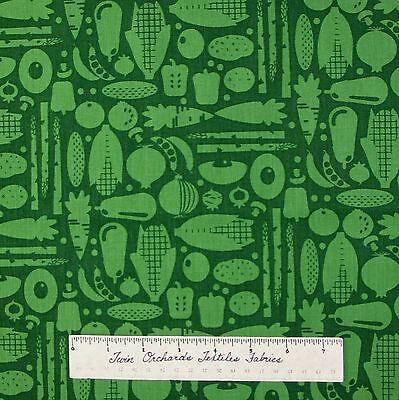 Food Fabric - Green Tonal Garden Vegetables - Timeless Treasures Cotton YARD