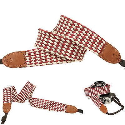 Maroon vintage mesh Fashion Camera Neck Shoulder Strap for Film SLR DSLR RF Cute