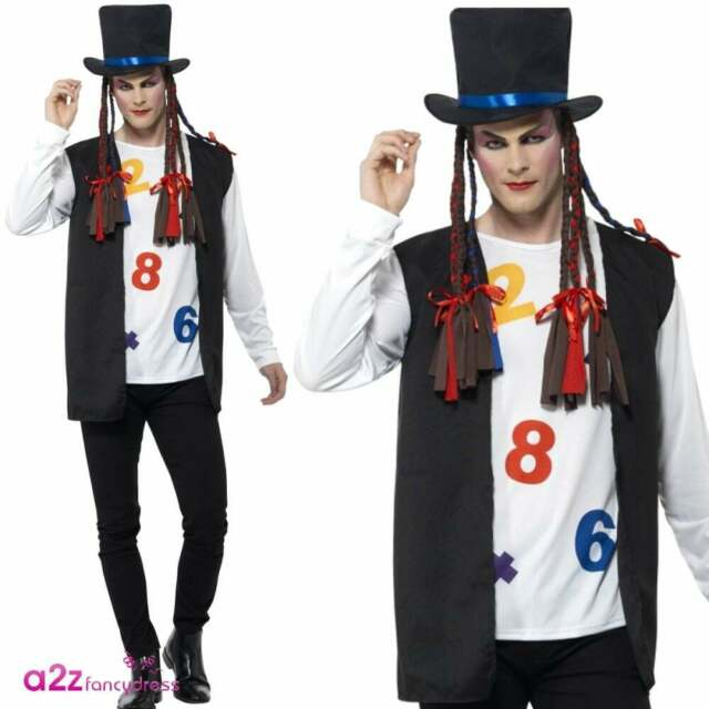 80s Pop Star Mens Fancy Dress 1980s Boy George Celebrity Adults Costume Outfit