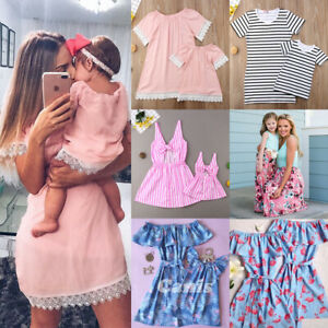US-Mother-Daughter-Family-Matching-Dress-Mommy-and-Me-Floral-Maxi-Dresses-Outfit