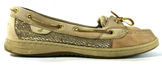 Sperry Top Sider Angelfish Linen Gold Glitter Slip On Boat Shoes Womens Size 9 M