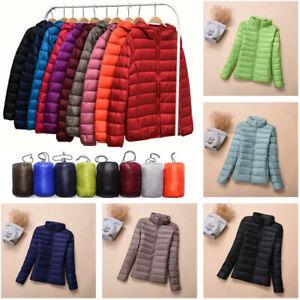 Women-039-s-Winter-Packable-Hoodie-Puffer-Down-Jacket-Ultralight-Stand-Collar-Coat
