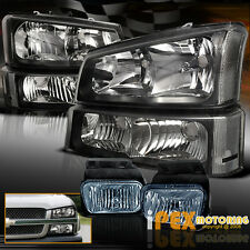 2003-2006 Chevy Silverado 1500 2500 Black Headlights W/Signals + Smoke Fog Light