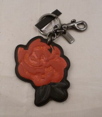 NWT COACH BLACK and RED ROSE FLOWER HAND BAG CHARM KEY CHAIN RING FOB 26858
