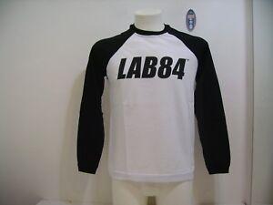 Lab84-Men-039-s-T-Shirt-Long-Sleeve-Crew-Neck-F8-TSHM4209-White-Black