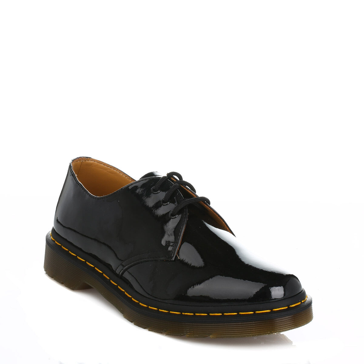 Dr. Martens Womens Black 1461 Derby Shoes, Lace Up, Patent Leather, Smart Docs